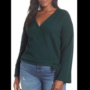 Madewell Texture & Thread Wrap Top XL, Green